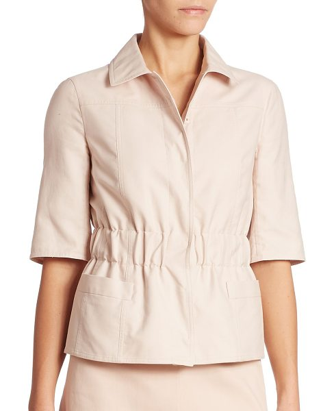 AKRIS infini cotton double face jacket in nude - Short-sleeved jacket in pale hue and gathered waist for...