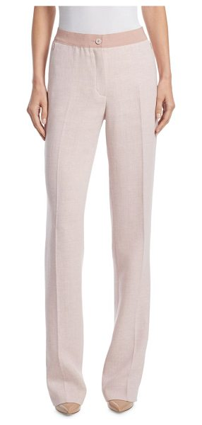 AKRIS linen & wool pants in rose - Classic linen-blend pants in two-toned detail. Front...