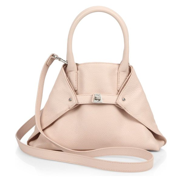 AKRIS Little ai convertible leather tote in palerose - Pebbled leather in a signature silhouette, cinched by a...
