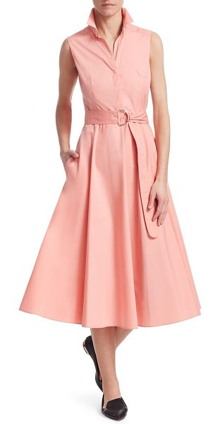 Akris punto belted a-line shirtdress in peony