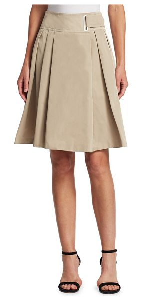 Akris punto belted a-line skirt in sand - Belted A-line skirt with pleated detailing. Belted...