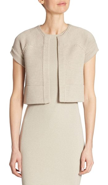 Akris punto cropped wool cardigan in beige - EXCLUSIVELY AT SAKS FIFTH AVENUE. Elegant cropped banded...
