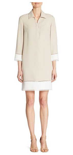 Akris punto collared colorblock shift dress in beige-cream - EXCLUSIVELY AT SAKS FIFTH AVENUE. Fluid colorblock shift...