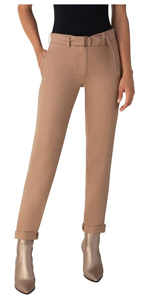 Akris punto Fallon Belted Wool Chino Pants in beige