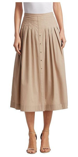 Akris punto pleated a-line skirt in sand - Pleated skirt in A-line silhouette with stud details....