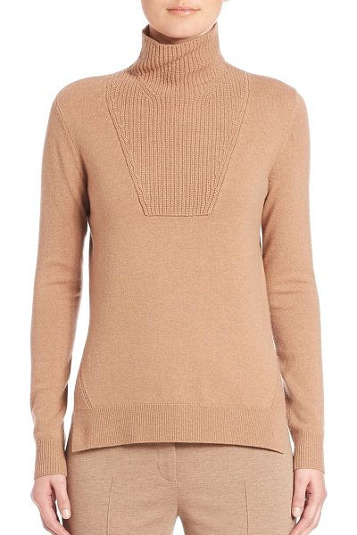 Akris punto ribbed mockneck wool sweater in camel - Wool-blend mockneck sweater with rib-knit accents....