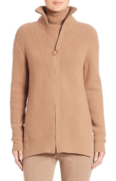 Akris punto ribbed wool mockneck jacket in camel - Chunky rib-knit sweater topped with cozy mockneck....