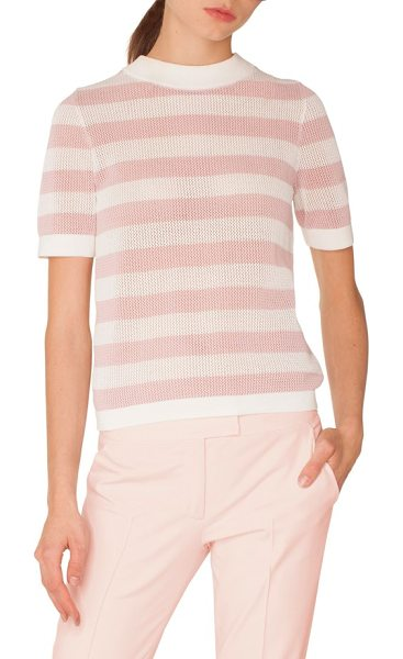 Akris punto stripe cotton sweater in pink - An airy cotton knit patterned with washed-out stripes...