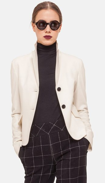 Akris punto two-button wool & angora jacket in cream - Expert seaming and a double-vented flap in back perfect...