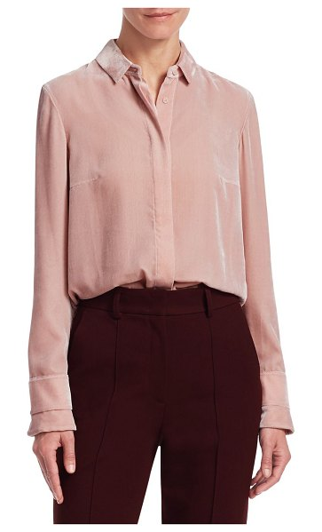 Akris punto velvet button-down blouse in brush rose