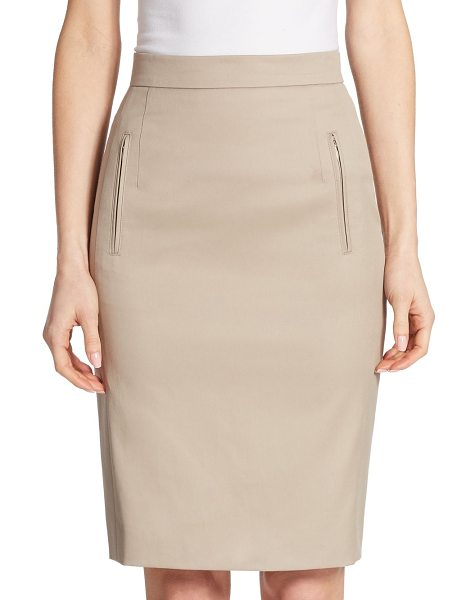 Akris punto zip pocket pencil skirt in beige - EXCLUSIVELY AT SAKS FIFTH AVENUE. Stretch cotton-blend...
