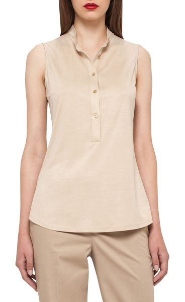 "AKRIS Sleeveless Silk Jersey Blouse in champagne - Akris jersey blouse. Approx. 25.5""L from shoulder to..."