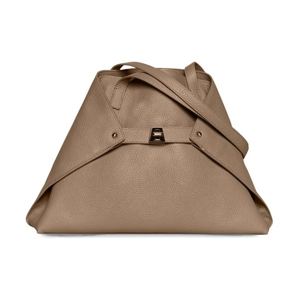 AKRIS small ai grained leather tote in sand