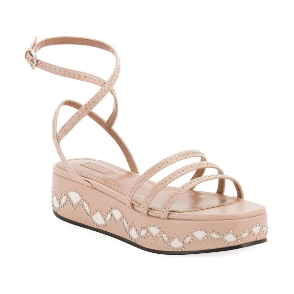 ALAIA 45mm Leather Flatform Sandals in nude