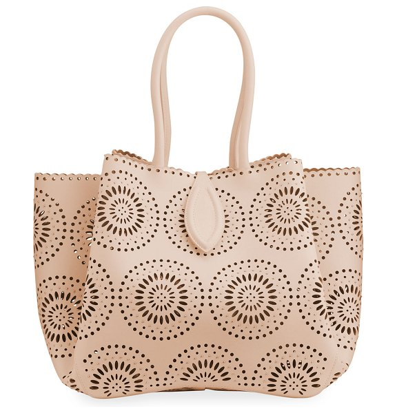 ALAIA Angele 25 Laser-Cut Leather Tote Bag in 124 sable