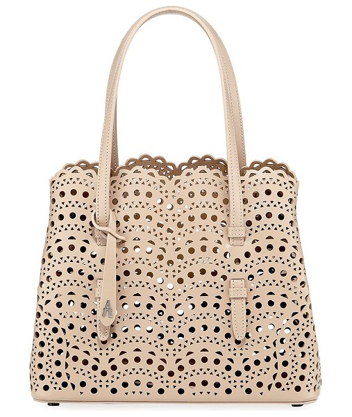 ALAIA Mina Small Laser-Cut Tote Bag in nude