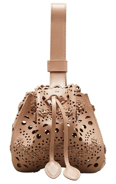 ALAIA Rose Marie Laser-Cut Bucket Bag in light pink