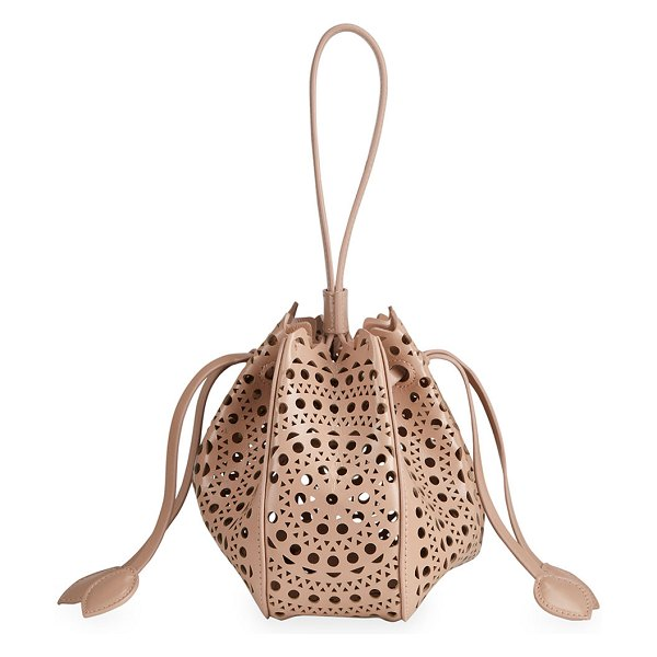 ALAIA Rose Marie Mini Lux Bucket Bag in c124 sable