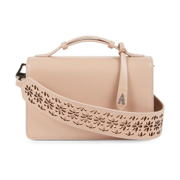 Alaïa small franca leather shoulder bag in nude - ONLY AT SAKS. From the Franca Collection. Floral...