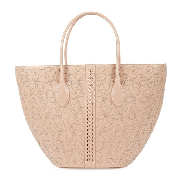 Alaïa small latifa studded leather tote in tan