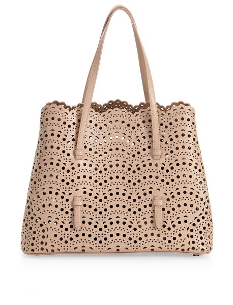 ALAIA small mina vienne leather tote in sable