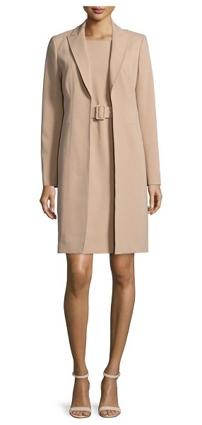 Albert Nipon Jacket & Belted Sheath Dress Set in camel - Albert Nipon two-piece dress and suit jacket set in...