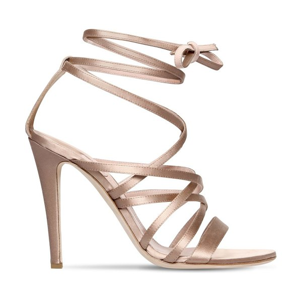 Alberta Ferretti 105mm satin lace-up sandals in nude