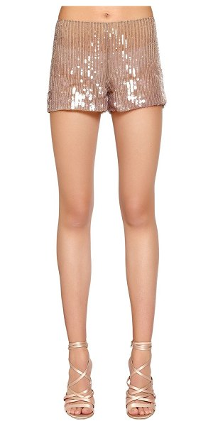 Alberta Ferretti Beaded & sequined tulle shorts in beige/champagne - Concealed side zip closure . All over stitched beads and...