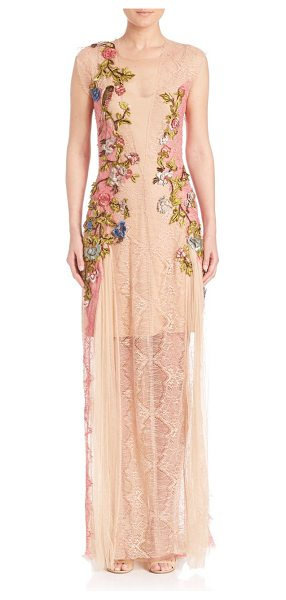 Alberta Ferretti floral applique lace gown in beige - Luxe lace gown with stunning floral embellishments....