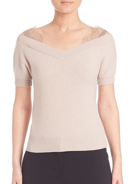 Alberta Ferretti Off-the-shoulder wool & cashmere sweater in beige - EXCLUSIVELY AT SAKS FIFTH AVENUE. Short-sleeve wool and...