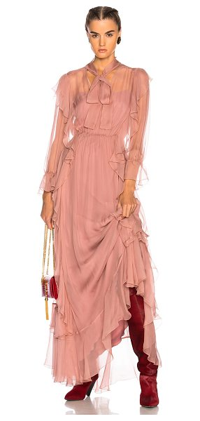 ALBERTA FERRETTI Ruffle Gown - Self: 100% silk - Lining: 86% acetate 9% silk 5% other...