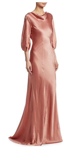Alberta Ferretti silk cowl gown in pink - Elegant floor-length gown in pure silk. Cowlneck....