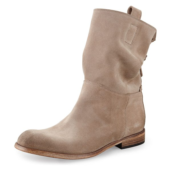 Alberto Fermani Umbria Back Detail Ankle Boot in sabbia (bone) - Suede upper. Leather sole. Stacked heel. Pull on style...