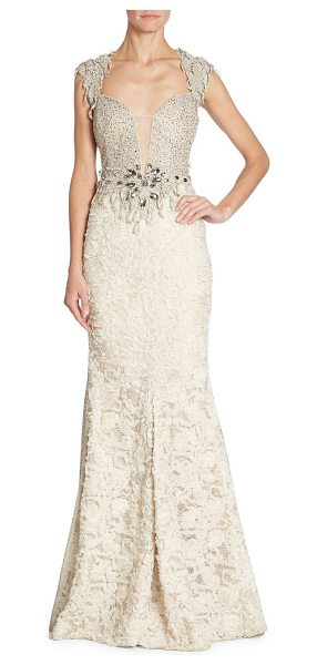 ALBERTO MAKALI embellished lace gown - Embellished lace mermaid gown with striking open back....