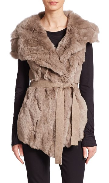 Alberto Makali Fur knit-back vest in taupe - Belted fur vest with a tailored knit backWide cape...