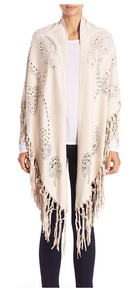 Alberto Makali Laser cut fringe poncho in beige - Fringed faux-suede poncho with laser-cut designPoncho...
