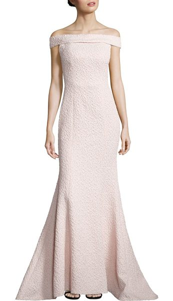 Alberto Makali textured off-the-shoulder gown in blush - Shoulder-skimming neckline accents mermaid gown....