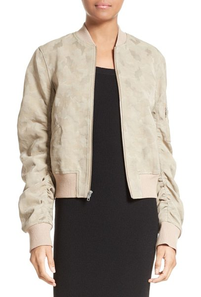 A.L.C. andrew brocade bomber jacket in stone - Ruched sleeves add pleasant volume to this fresh take on...