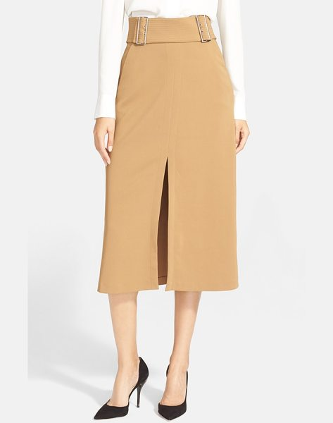 A.L.C. baker buckled crepe skirt - Dual silvertone buckles detail this stretch-crepe midi...