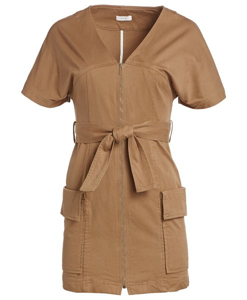 A.L.C. bellamy belted stretch cotton dress in caramel