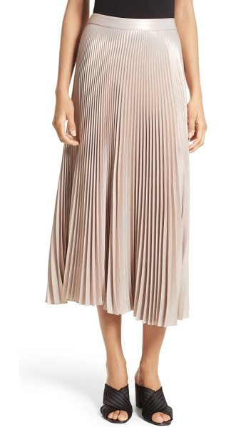 A.L.C. bobby pleated midi skirt in rose - Sewn from crisply pleated rose-gold satin, this elegant,...