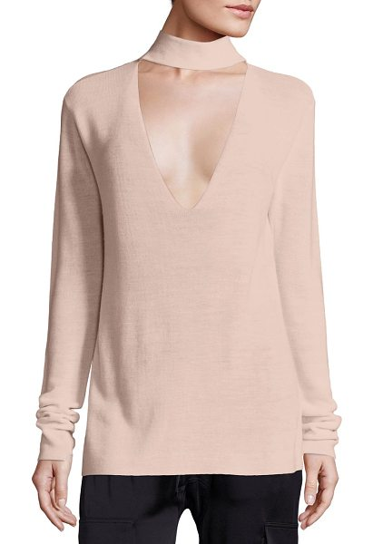 A.L.C. caro merino wool cutout sweater in petal - Alluring, plunging cutout updates mockneck sweater....