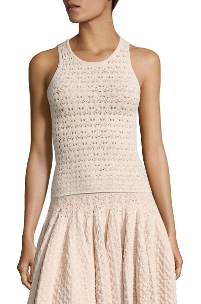 A.L.C. casey pointelle-knit top in rose - Slim pointelle-knit top in cropped silhouette. Crewneck....
