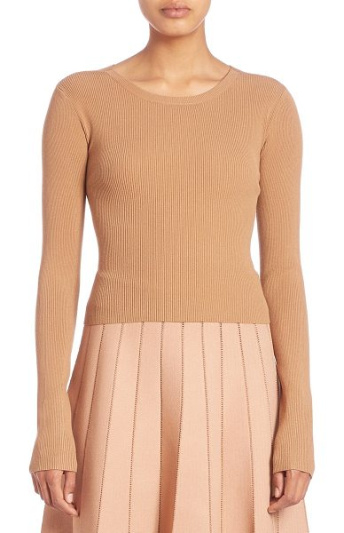 A.L.C. chance crossback sweater in tan - Cropped rib-knit sweater with cool crossed back....