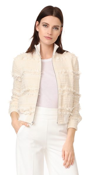 A.L.C. judd jacket in natural - A texture-rich A.L.C. jacket with shaggy fringe. Fine...