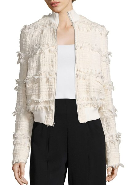 A.L.C. judd tweed jacket in natural - Bomber jacket-inspired style in fringed tweed. Stand...