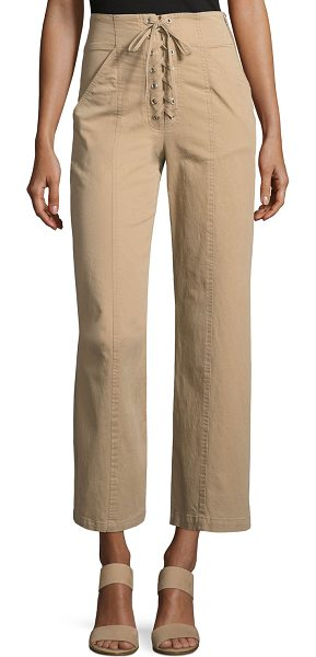 "A.L.C. Kyt High-Waist Lace-Front Pants in khaki - A.L.C ""Kyt"" poplin pants. Rise sits high on waist...."