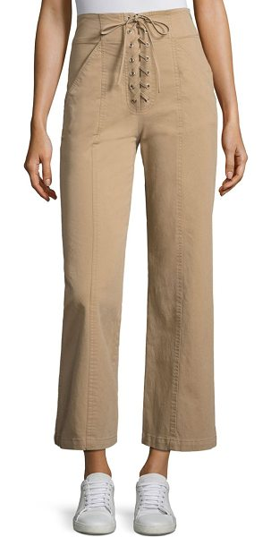 A.L.C. kyt lace-up wide-leg pant in khaki - Lace-up wide-leg pants crafted in stretch cotton. Banded...