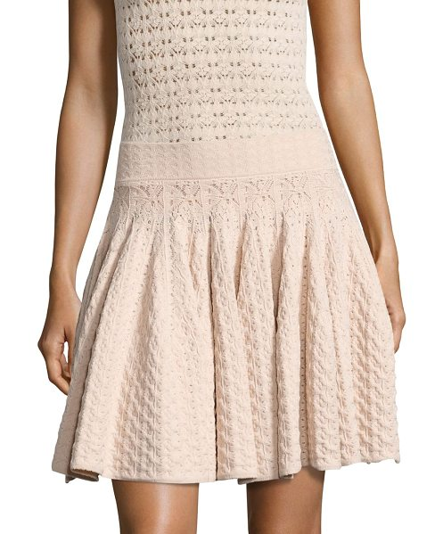 A.L.C. lana pointelle-knit skirt in rose - Pointelle-knit mini skirt in fit-&-flare silhouette....