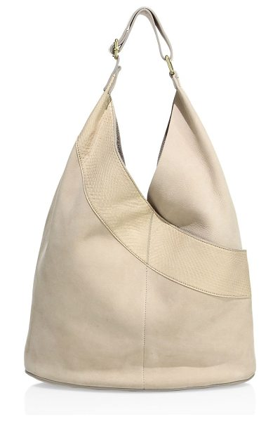 A.L.C. leather & watersnake hobo bag in stucconude - Modern hobo bag with a watersnake leather patch....
